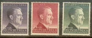 Stamp Germany Poland General Gov't Mi 101-3 Sc NB24-6 WWII Hitler Birth 1943 MH