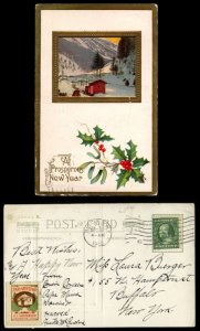 US #331 or 374 on POSTCARD with CHRISTMAS SEAL,  quite neat, FANCY EMBOSSED P...