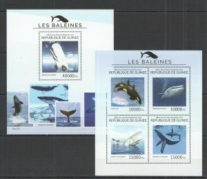 ST714 2014 GUINEA FAUNA FISH & MARINE LIFE WHALES KB+BL MNH STAMPS