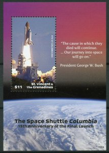 St Vincent & Grenadines 2019 MNH Space Shuttle Columbia Launch 1v S/S Stamps