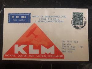 1934 Liverpool England First Flight Cover to Rotterdam Holland via KLM Air FFC