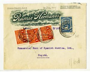 Columbia Stamps Early Advertising Cover 4 Stamps 3 Cancels
