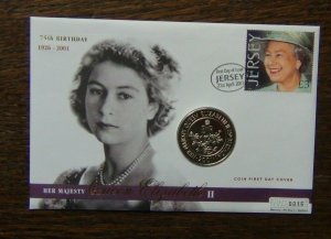 Jersey 2001 75th Birthday of Queen Elizabeth 2 Coin Cover