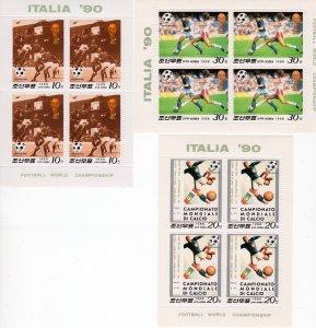 Korea 1990 Sc#2729/2731 World Cup Italy 90 Mini-Sheetlets (3) MNH