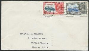 JAMAICA 1935 cover to USA, Jubilee 1d & 1½d................................53103