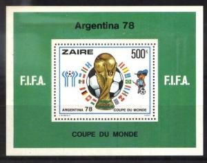ZAIRE,1978 FOOTBALL SOCCER WORLD CUP ARGENTINA 78,S/SHEET YV 3 MNH