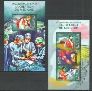 CA314 2015 CENTRAL AFRICA RED CROSS 50TH ANNIVERSARY CREATION MEDICINE KB+BL MNH