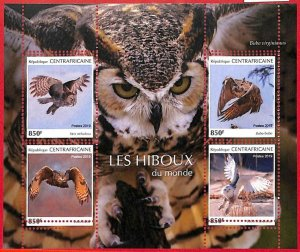A1650 - CENTRAL AFRICAN R -ERROR: MISSPERF, MINIATURE S. - 2019, Owls, Birds