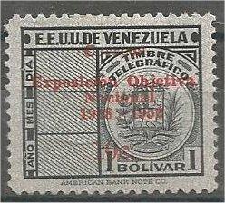 VENEZUELA, 1952, MH 10c on 1b Telegraph stamps overprinted Mi:VE ST 838