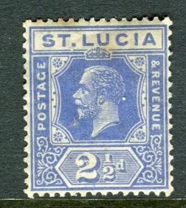 ST.LUCIA; 1921 early GV issue fine Mint hinged Shade of 2.5d. value
