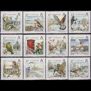 GUERNSEY 1990 - Scott# 445a-l Christmas-Birds Set of 12 NH