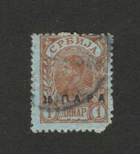 SERBIA- USED STAMP ,OVPT15p/1d - KING ALEKSANDAR  - 1900.