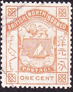 NORTH BORNEO 1886 1 Cents Orange-Yellow SG23 FU