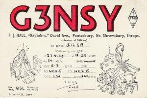 7279 Amateur Radio QSL Card  PONTESBURY ENGLAND