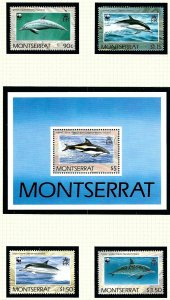 Montserrat 753-57 MNH 1990 Dolphins      (KA)