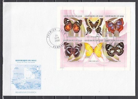 Mali, Scott cat. 1086. Butterflies sheet of 6. Large First day cover.