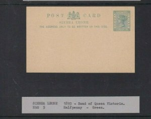 SIERRA LEONE POSTAL STATIONARY CARD UNUSED 1/2D 1893