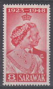 Sarawak 1948 Sc 174 Silver Wedding 8c MNH