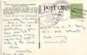 United States Colorado Tennessee Pass 1939 4f-bar  1912-1960  PC  Mailed From...