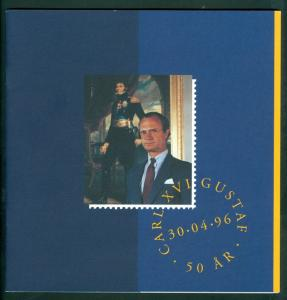 Sweden. Folder 1996  6 Pages.King Carl XVI Gustaf 50 Year. 2 Souv.Sheet Sc#2167A