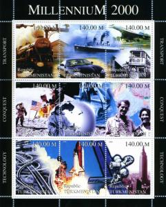 Turkmenistan 1999 MILLENNIUM 2000 SPACE CONCORDE sheet Perforated Mint (NH)