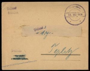 Germany 1938 Hohenstein Sudetenland Annexation Provisional Cover Czechoslo 72520