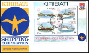 Kiribati 443a Ships Souvenir Sheet U/A FDC