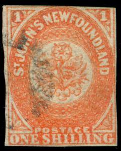 MOMEN: NEWFOUNDLAND STAMPS SG #15 1sh 1860 USED IMPERF £11,000