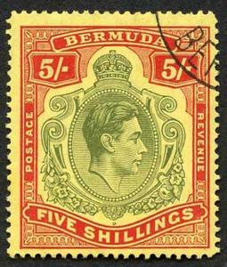 Bermuda SG118b KGVI 5/- Pale Green and Red/yellow Line Perf 14.25 (Ref 63)