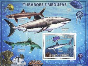 SAO TOME E PRINCIPE 2009 SHEET SHARKS JELLYFISHES MARINE LIFE st9201b