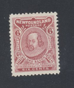Newfoundland Mint Stamp; #92-6c Lord Bacon backwards Z (S) Guide Value = $140.00