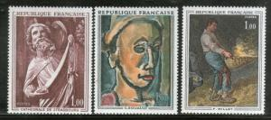 France 1967 French Paintings Art Sculpture by Rouault Millet Sc 1295-7 MNH #4155