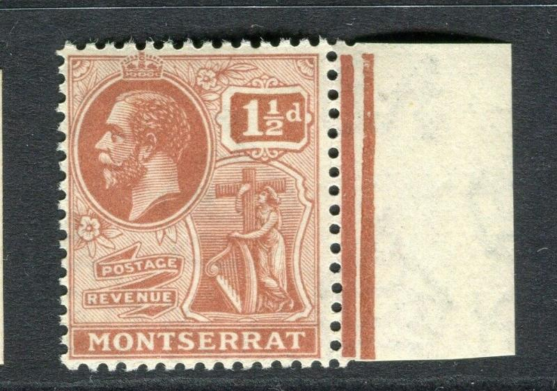 MONTSERRAT; 1922 early GV issue fine Mint hinged 1.5d. Marginal value