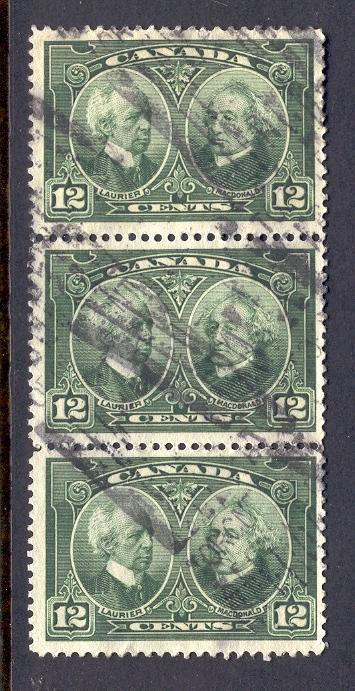 CANADA 147 USED STRIP OF 3 LAURIER AND McDONALD 1927