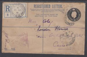 Great Britain H&G IC-1 used 1918 2p Military Registered & Censored Field PO Env