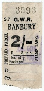 (I.B) Great Western Railway : Prepaid Parcel 2/- (Banbury)