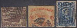 CANADA NEWFOUNDLAND 1865-96 Sc 25, 30 & 49 FORGERIES MUTE CANCELS (CV$497)