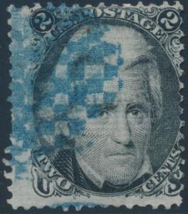 #85B Z GRILL USED WITH BLUE FANCY CANCEL CV $1550.00 HV2754