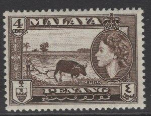 MALAYA PENANG SG46 1957 4c SEPIA MNH