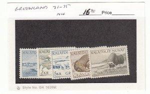 J25749 jlstamps 1969-76 greenland set mnh #71-5 animals all checked