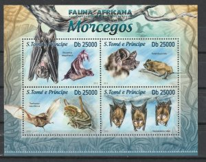 St. Thomas & Prince Islands MNH S/S African Bats 2013