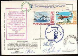NORFOLK IS 1981 postcard flown Anniv Chichester flight - signed............33568