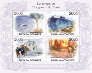 COMORES 2010 SHEET THE RAVAGES OF CLIMATE CHANGE TSUNAMI TWISTER cm10115a