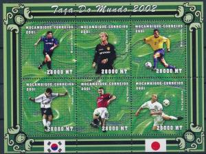 Mozambique MNH S/S World Cup Soccer #2 2002 6 Stamps