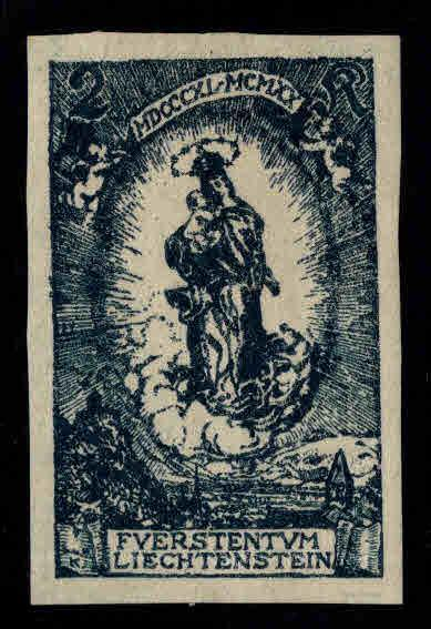 LIECHTENSTEIN Scott 49a MH* Imperforate  Madonna stamp