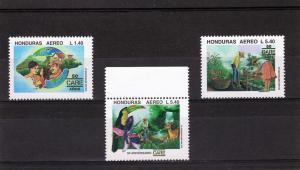 Honduras 1995 Birds-Parrots-Orchids Set (3) MNH Sc # C953-55