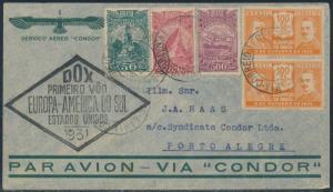 BRAZIL JUN 21,1931 DOX FLT CVR TO PORTO ALEGRE W/ BLACK FLIGHT CACHET XF BR1925