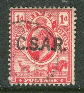 ORANGE FREE STATE; Scarce early 1900s Ed VII C.S.A.R. RAILWAY Optd used value