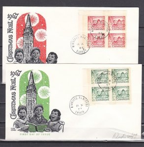 Canada, Scott cat. 476-477. Christmas issue. Blocks of 4. 2 First day covers. ^