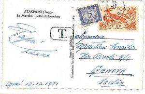 05418  - ITALIA REPUBBLICA - SEGNATASSE SU CARTOLINA da TOGO!!